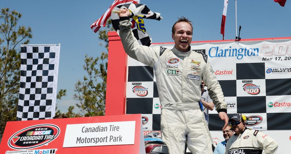 BOWMANVILLE, ON - MAY 17:  Gary Klutt, driver of the #59 CTL Corp./Legendary Motorcar Chevrolet exits his car after winning the Pinty's presents the Clarington 200 at Canadian Tire Motorsport Park on May 17, 2015 in Bowmanville, Ontario, Canada.  (Photo by Matthew Murnaghan/NASCAR via Getty Images) *** Local Caption *** Gary Klutt