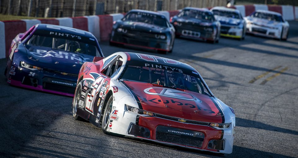 HAMILTON, ON - AUGUST 29: Jason Hathaway, driver of the #3 during the NASCAR Pintyís series at Flamboro Speedway in Hamilton, Ontario, Canada on Saturday, August 29, 2020. (Photo by Matthew Manor/NASCAR)