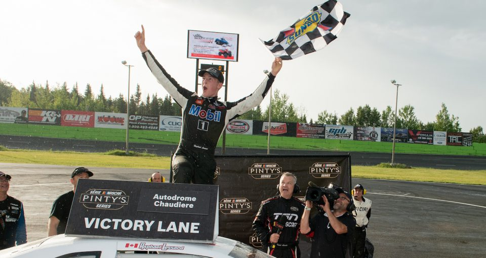 VALLEE-JONCTION, QC - JUNE 29 2019:  Raphael Lessard, driver of the #7 Societes Louis Jacques / FRL Express Dodge wins the Budweiser 300 at Autodrome Chaudiere on June 30, 2019 in Vallee-Jonction, Quebec, Canada. (Photo by Matthew Murnaghan/NASCAR)