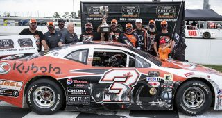 HAGERSVILLE, ON - SEPTEMBER 12: Jason Hathaway, driver of the #3 car of the NASCAR Pintyís series celebrates winning the 2020 Fan Can Challenge championship at Jukasa Motor Speedway in Hagersville, Ontario, Canada on Saturday, September 12, 2020. (Photo by Matthew Manor/NASCAR)