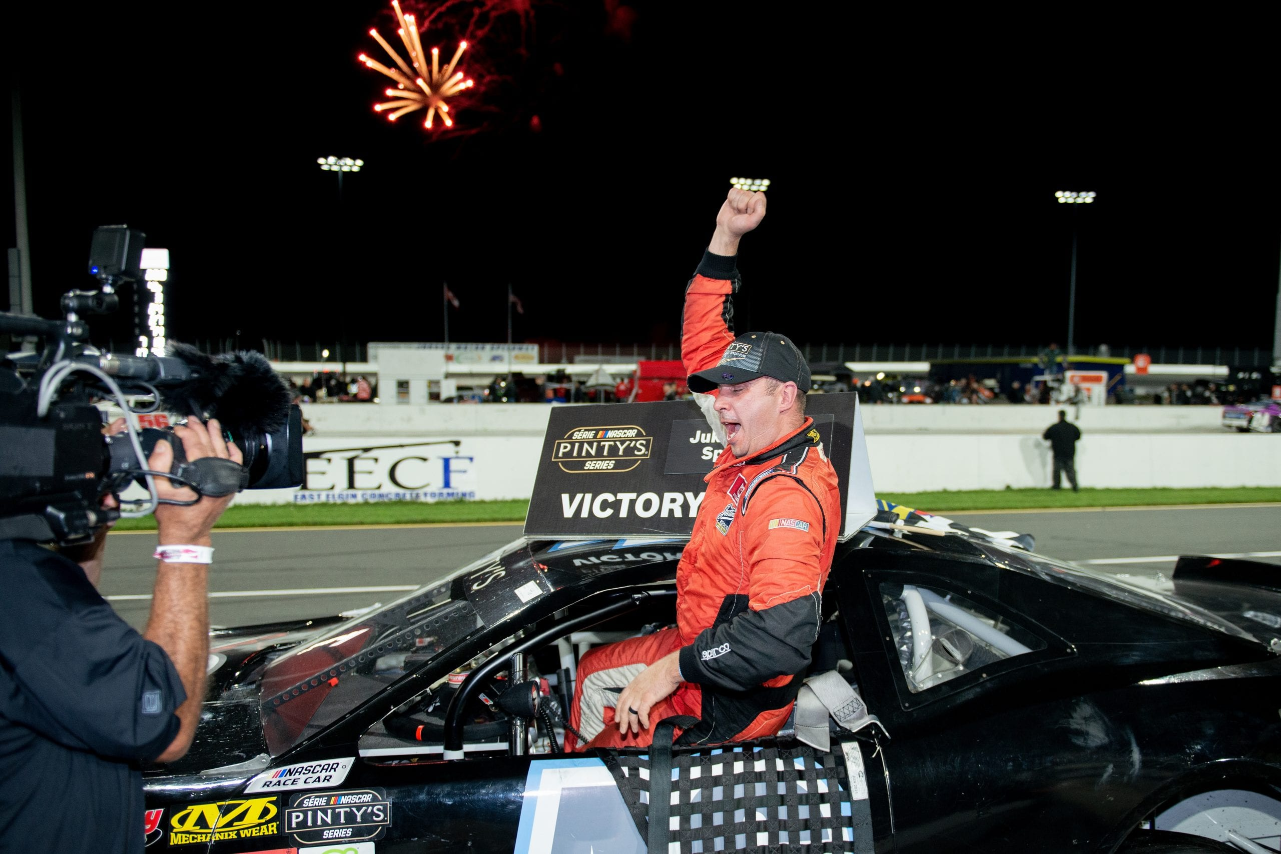 NELLES CORNERS, ON - Seot 28 2019: Brett Taylor, driver of the #46 Dodge wins the Pinty's Fall Brawl at Jukasa Motor Speedway on Sep 28, 2019 in Nelles Corners, Ontario, Canada. (Photo by Matthew Murnaghan/NASCAR)