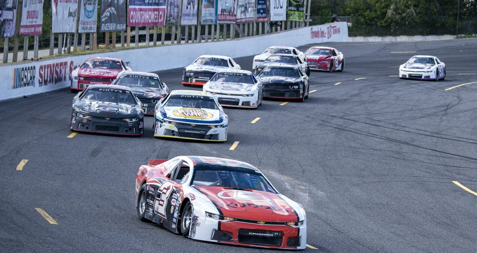 INNISFIL, ON - AUGUST 15: The NASCAR Pinty's series at Sunset Speedway in Innisfil, Ontario, Canada on Saturday, August 15, 2020. (Photo by Matthew Manor/NASCAR)