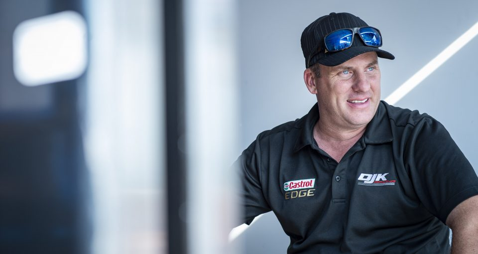 TORONTO, ON - JULY 13: DJ Kennington, driver of the #17 Castrol Edge Dodge looks on in the garage area at the Pinty's Grand Prix of the NASCAR Pinty's Series at Toronto Honda Indy in Toronto, ON. (Photo by Matthew Manor for NASCAR)